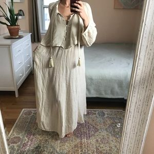 NWOT Free People Linen Tassle dress Low open back